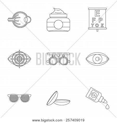 Eye Exam Icons Set. Outline Illustration Of 9 Eye Exam Icons For Web