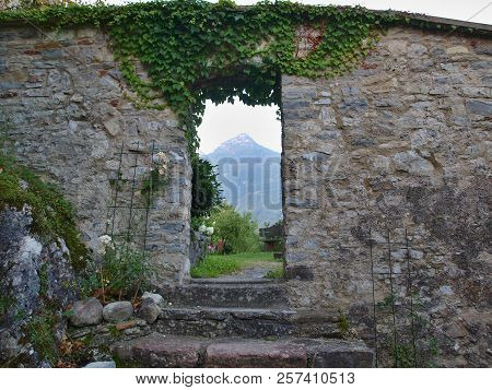 Entrance To The Castle Garden, View Of The Alps, Castle In Golling, Austria