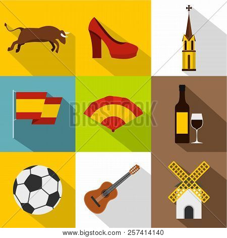 Tourism In Spain Icons Set. Flat Illustration Of 9 Tourism In Spain Icons For Web