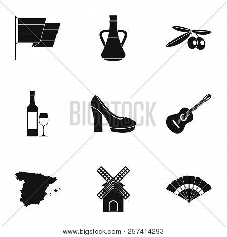 Tourism In Spain Icons Set. Simple Illustration Of 9 Tourism In Spain Icons For Web