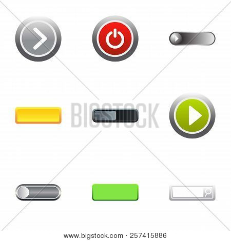 Buttons To Push Icons Set. Flat Illustration Of 9 Buttons To Push Icons For Web