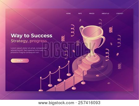 Gold Winner Cup On Red Carpet With Barriers. Trophy Landing Page Concept, Victory, Award, Achievemen
