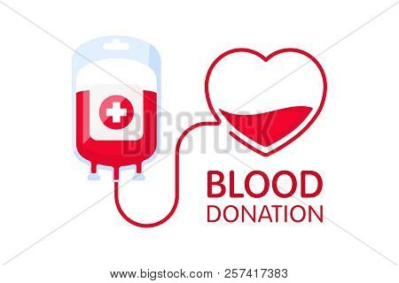 Donate Blood Concept With Blood Bag And Heart. Blood Donation Vector Illustration. World Blood Donor