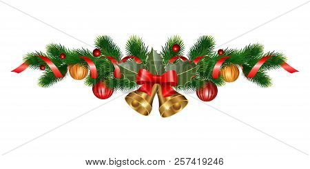Christmas Decorations With Bells, Fir Tree, Holly, Berries And Decorative Elements. Design Element F