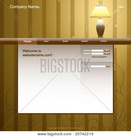 Website design template, vintage room interior