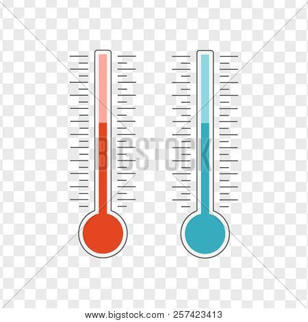 Meteorology Thermometers Heat And Cold Vector. Thermometer Icon Hot And Cold. Weather Thermometer Ve