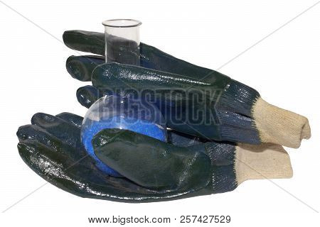 Lab Flask Of Cupric Sulfate In Working Gloves. Isolated On White, With Clipping Path