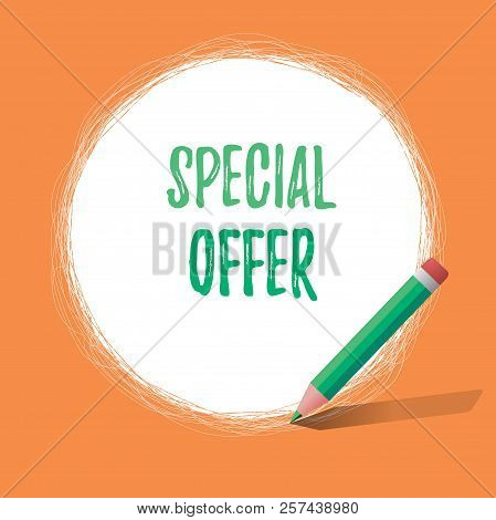 Writing Note Showing Special Offer. Business Photo Showcasing Selling At A Lower Or Discounted Price