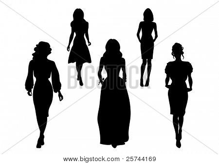 fashionable women silhouettes, vector poster
