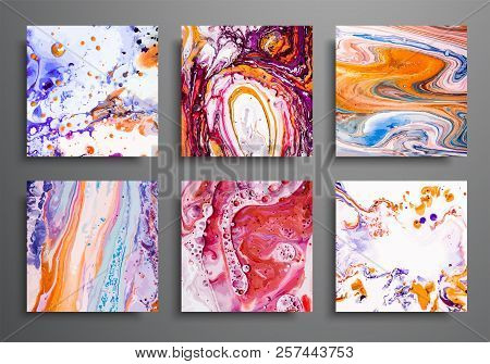 Dynamic Backgrounds. Trendy Placards, Commercial Covers Set. Marble Colorful Effect. Abstract Page P