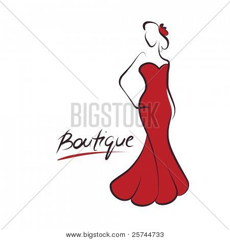 woman fashion logo, vector poster