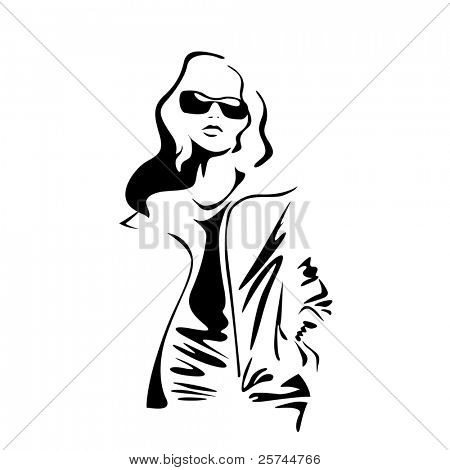 casual young woman silhouette, vector