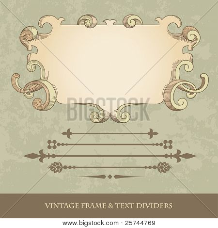 retro frame in engraved style and text dividers, vector