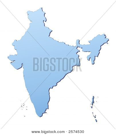 India map filled with light blue gradient. High resolution. Mercator projection. poster