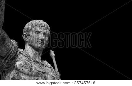 Caesar Augustus, First Emperor Of Ancient Rome. Old Bronze Statue In The Imperial Forum (black And W