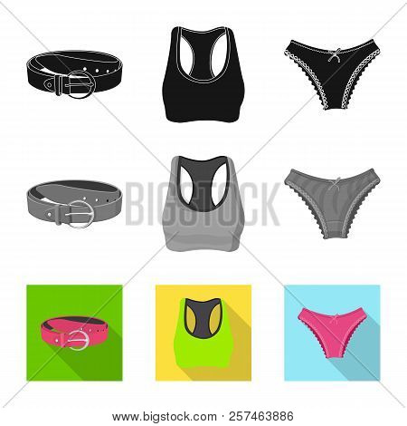 Vector Illustration Of Woman And Clothing Sign. Collection Of Woman And Wear Stock Vector Illustrati