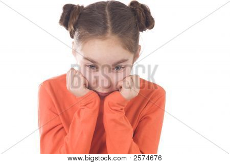 Sad Girl With Hands On Chin