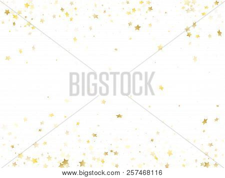 Flying Gold Star Sparkle Vector With White Background. Stylish Gold Gradient Christmas Sparkles Glit