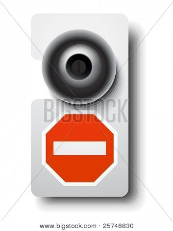 Door hanger with stop sign