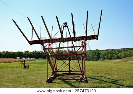A Loose Hay Stacker Used To Dump Loose Hay On A Hay Stack, When Building A Hay Stack. It Was Used A