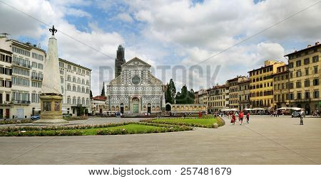 Florence, Italy, Jun 5, 2018: Basilica Of Santa Maria Novella In Florence (firenze) Italy With Touri