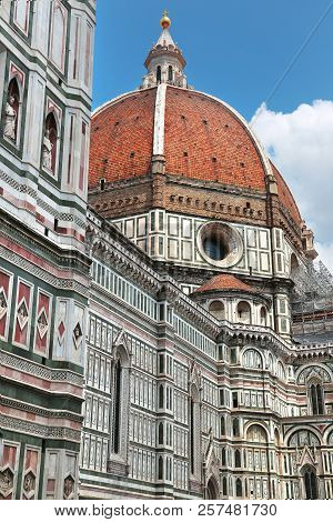 Close Up View Of The Dome Of Famous Florence Cathedral In Florence, Tuscany, Italy