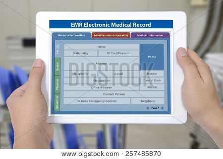 Electronic Medical Record Application Showing Blank Patient Information On Digital Tablet Screen In