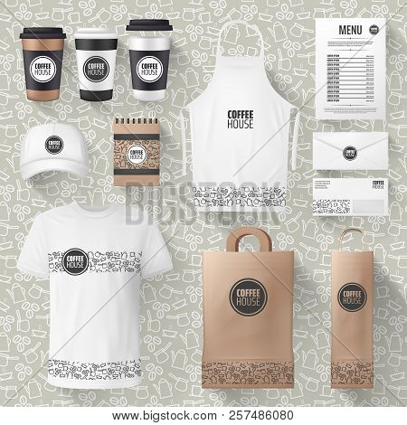 Cafe or cafeteria merchandise and advertising materials mockups. Vector 3D coffee cup, ashier or waiter t-shirt and cap, paper bag or apron and receipt design with cofeehouse brand name poster