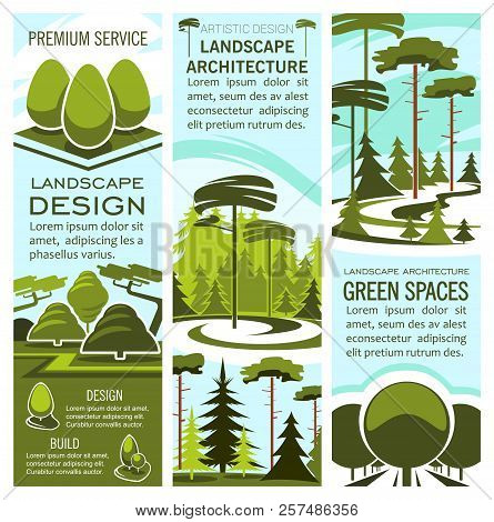 Green Landscape Design And Nature Architecture Banners For Landscaping And Gardening Company. Vector