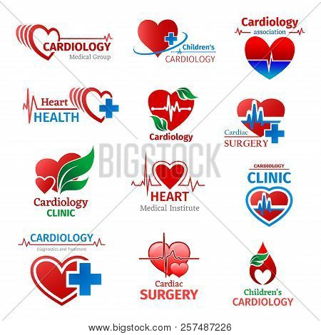 Cardiology Medicine, Cardiologist Medical Group Or Heart Health Clinic And Research Institute Icons.