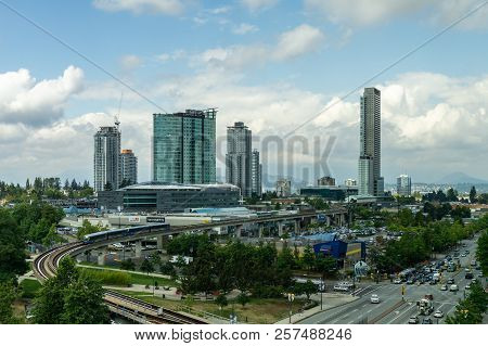 Surrey, Canada August 30, 2018: Modern Buildings And Infrastructure City Centre Greater Vancouver Ar