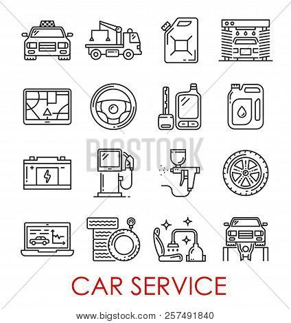 Car Service Thin Line Art Icons. Vector Isolated Set Of Taxi Car, Wrecker Truck Or Petrol Canister A