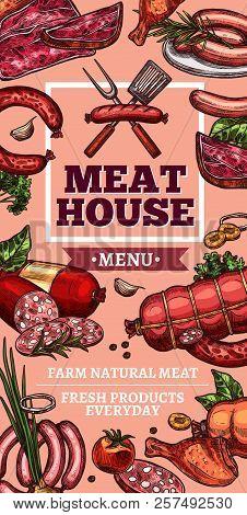 Meat House Or Butcher Farm Shop Sketch Poster. Vector Meaty Delicatessen Of Cervelat, Pepperoni Saus