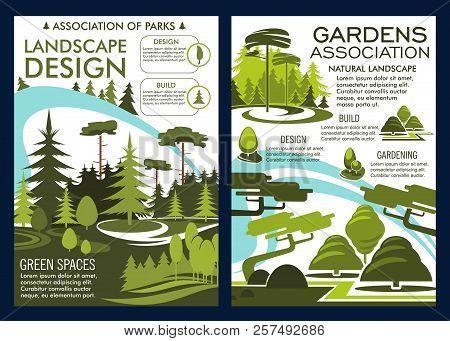Landscape Design And Gardens Association Poster Or Brochure. Vector Nature Horticulture Service For