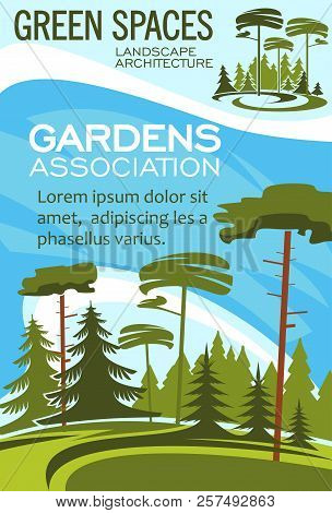 Gardens Association Poster For Landscape Design And Horticulture Gardening. Vector Forest Trees Or P