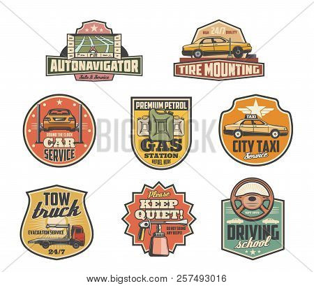 Car Service Retro Icons For Taxi Or Auto Garage Service. Vector Navigator Map, Tire Mounting And Fit