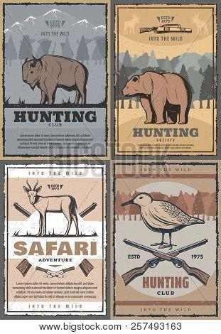 Hunting Club Retro Posters For Hunt Open Season Or African Safari Adventure. Vector Vintage Design O