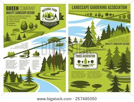 Landscape Gardening Association Or Horticulture Design Company Poster Or Brochure. Vector Eco Landsc
