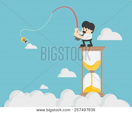 Business Concept Vector Illustration,fishing Business On The Hourglass,hourglass