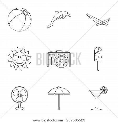 Journey To Sea Icons Set. Outline Illustration Of 9 Journey To Sea Icons For Web