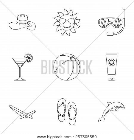 Tourism At Sea Icons Set. Outline Illustration Of 9 Tourism At Sea Icons For Web