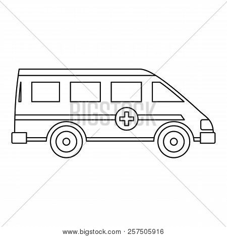 Ambulance emergency paramedic car icon. Outline illustration of ambulance emergency paramedic car icon for web poster