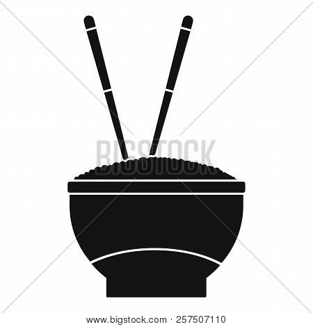 Bowl Of Rice With Chopsticks Icon. Simple Illustration Of Bowl Of Rice With Chopsticks Icon For Web