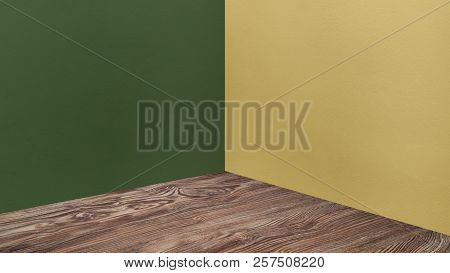 Empty Corner Green And Yellow Concrete Wall And Wooden Floor Perspective Room,modern Style Room,mock