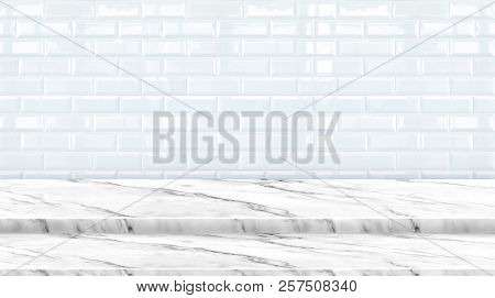 Empty Setp Marble Marble Table Top With White Ceramic Tile Wall Background,mock Up Banner Ads For Di