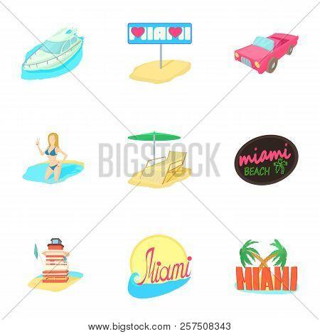 Tourism In Miami Icons Set. Cartoon Illustration Of 9 Tourism In Miami Icons For Web