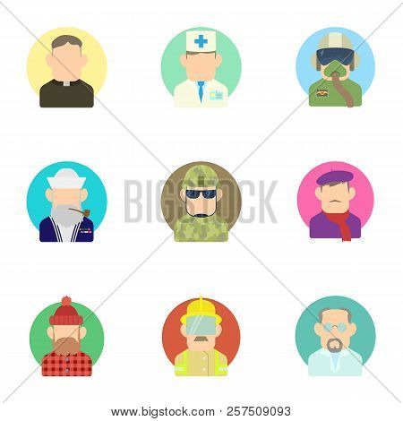 Occupation Icons Set. Flat Illustration Of 9 Occupation Icons For Web