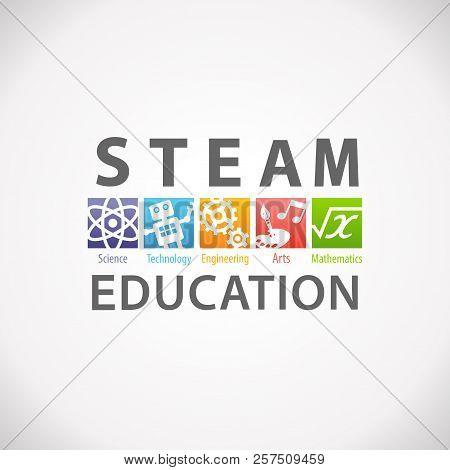 Steam Stem Education Concept Logo. Science Technology Engineering Arts Mathematics