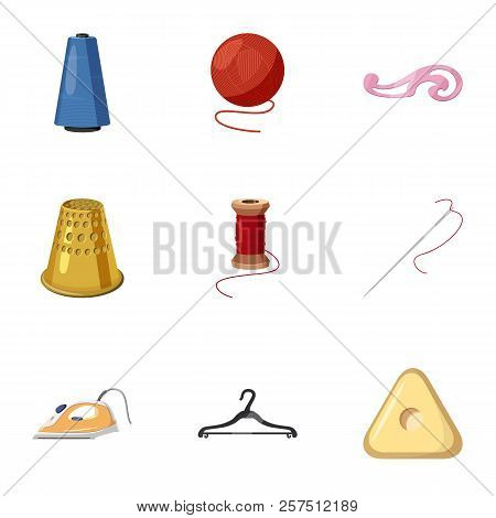 Accessories For Sewing Workshop Icons Set. Cartoon Illustration Of 9 Accessories For Sewing Workshop