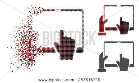 Hand Points Pda Icon In Dispersed, Dotted Halftone And Undamaged Solid Versions. Particles Are Combi
